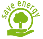 Illustration of a hand holding a circle with a tree in it and the words save energy on top